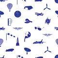 Aeronautical icons pattern eps blue Stock Photo