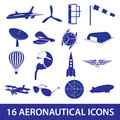 Aeronautical icons set eps blue Royalty Free Stock Image
