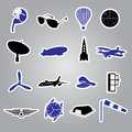 Aeronautical icons stickers eps trendy Stock Photo