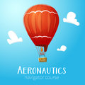 Aeronautics hot air balloon flying in blue sky surrounded with some white clouds vector illustraion for print and web design Stock Photography