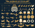 Aeronautics retro style labels badges and emblems templates and design elements Royalty Free Stock Photo