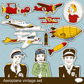 Aeropalane vintage set collection of different Stock Images