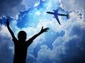 Aeroplane on blue sky background Stock Photos