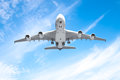 Aeroplane flying in the blue sky Royalty Free Stock Photo