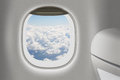 Aeroplane or jet interior with window and chair as traveling concept Stock Image