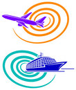 Aeroplane and passenger ship Royalty Free Stock Photography
