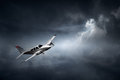 Aeroplane in thunderstorm flying storm with lightning concept of risk digital artwork Royalty Free Stock Photography