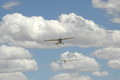 Aeroplane towing glider into the air at tempe airport near bloemfontein south africa Royalty Free Stock Image