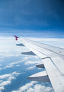 Aeroplane wings in the blue sky Stock Images