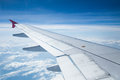 Aeroplane wings in the blue sky Royalty Free Stock Photo