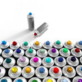 Aerosol cans composition Royalty Free Stock Photo