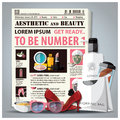 Aesthetic and beauty newspaper lay out with cosmetic design template Stock Photo