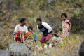 Aeta s of pinatubo a group filipino indigenous enjoy watching tourists trek up to crater lake Stock Images