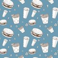 Afe food vector set white and blue and black fast-food monogram pattern