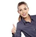 Affärskvinna med det ok handtecknet Arkivfoton