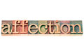 Affection word in wood type letterpress text isolated on white with a clipping path Royalty Free Stock Image