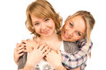 Affectionate girls in intimate embrace Royalty Free Stock Photos