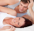 Affectionate man looking at his pregnant wife Stock Image