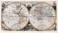 1725 Afferden Antique Map of the World in Hemispheres