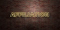 AFFILIATION - fluorescent Neon tube Sign on brickwork - Front view - 3D rendered royalty free stock picture