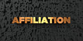 Affiliation - Gold text on black background - 3D rendered royalty free stock picture