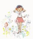 Affisch av flickan som lyssnar till musiken med blommor fåglar Arkivbilder