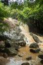 Affluent Waterfall in rain season on island Koh Samui, Thailand Royalty Free Stock Photo