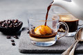 Affogato coffee with ice cream on a glass cup Royalty Free Stock Photo