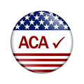 Affordable care act is great aca and check mark on a button isolated on white Royalty Free Stock Image