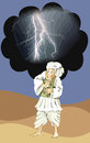 Afghan man afraid of lightning the and storm Royalty Free Stock Images