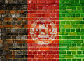Afghanistan flag on a brick wall background