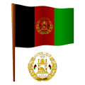 Afghanistan wavy flag and coat of arms against white background vector art illustration image contains transparency Royalty Free Stock Images