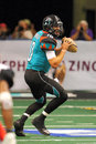 Afl mar jacksonville sharks at arizona rattlers march nick davila drops back to pass during arena football league action between Stock Image