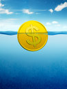 Afloat dollar coin Royalty Free Stock Images