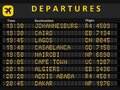 Africa airports departure board destination busiest in johannesburg cairo lagos cape town nairobi casablanca algiers Stock Photo