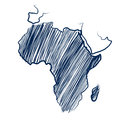 Africa continent map hand drawn background vector illustration Stock Photography