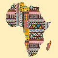 Africa continent map ornate with ethnic pattern Royalty Free Stock Photo