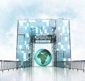 Africa earth globe under grand entrance gateway building