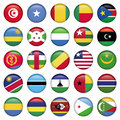 Africa flags round buttons zip includes dpi jpg illustrator cs eps vector with transparency Stock Photography