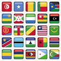 Africa flags square buttons zip includes dpi jpg illustrator cs eps vector with transparency Royalty Free Stock Photo