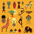 Africa icons vector set of stylized african Royalty Free Stock Photos