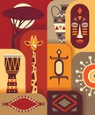 Africa jungle ethnic culture travel icons set. Vector flat illustration. Royalty Free Stock Photo