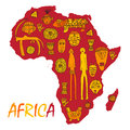 Africa map with different ancient symbols and signs Royalty Free Stock Photo