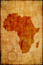 Africa map on old paper Royalty Free Stock Photo