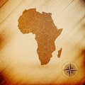 Africa map, wooden design background, vector