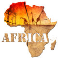 Africa map wooden illustration with wood texture and colorful landscape of fantasy with baobab trees and giraffes Royalty Free Stock Image