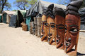 Africa masks wooden craft market in okahandja namibia Royalty Free Stock Image