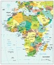 Africa political divisions map area geographical location on the globe Royalty Free Stock Image