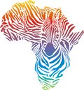 Africa in rainbow zebra camouflage illustration of abstract as a skin Royalty Free Stock Image