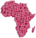Africa in a red mosaic of squares Stock Images
